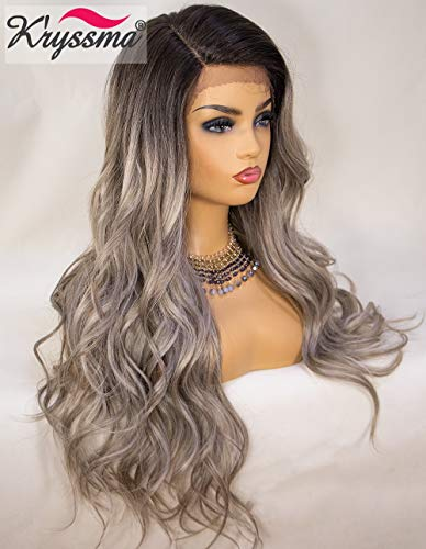 K'ryssma Ombre Lace Front Wigs Long Wavy Grey Synthetic Wigs for Women 130% Density Side Deep Parting Heat Resistant Wigs 22 inches