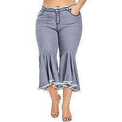 YKARITIANNA Women Autumn Elastic Plus Loose Denim Pocket Button Casual Boot Cut Pant Jeans