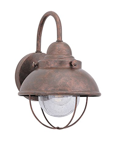 Sea Gull Lighting 887091S-44 Sebring LED Outdoor Wall Lantern with Clear Seeded Glass Diffuser, Weathered Copper Finish (Copper Ul Sconce)
