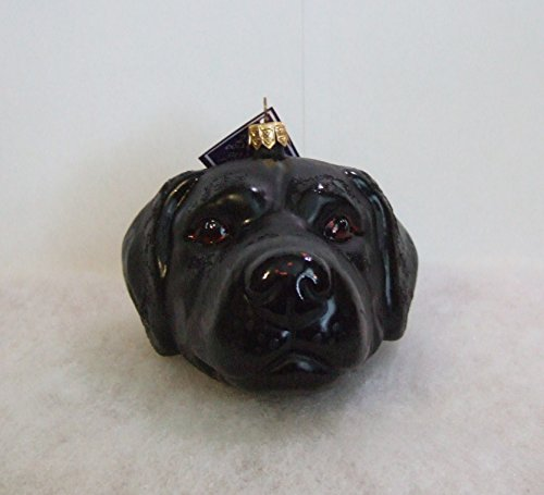 Slavic Treasures DOG083001 Black Lab Head Blown Glass Ornament