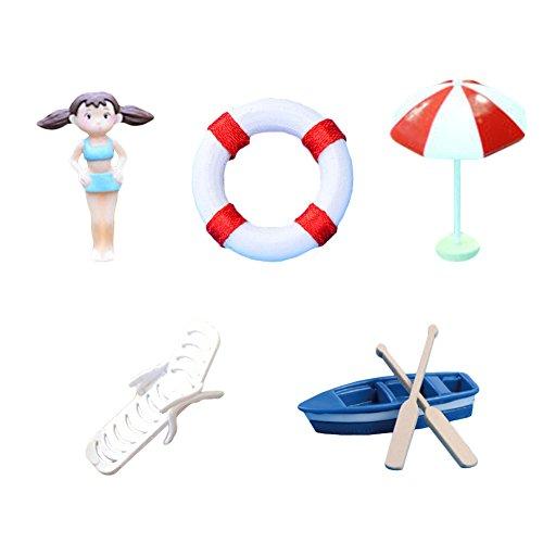 Gouptec Miniature Fairy Garden Supplies Navy Ring Boat An...