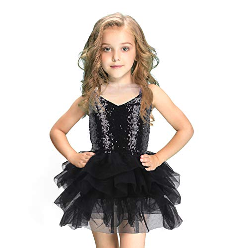 CO-AVE Black Sleeveless Tutu Dress for Girls Sequin Mesh Slip Dress with Tiered Skirt for Birthday Church Wedding Special Occasion