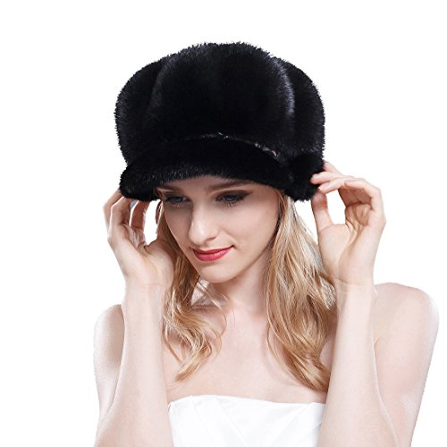 URSFUR Mink Fur Women's Newsboy Hat Black by URSFUR