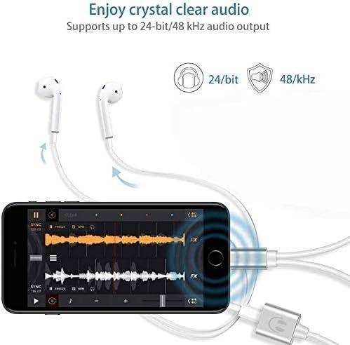 iTURBOS Adaptateur Casque pour iPhone AUX Adaptateur Double Ecouteur et Adaptateur C/âble pour iPhone 7//8Plus//X//XS//XR//11,2 en 1 Convertisseur Audio T/él/éphone Volume Contr/ôle SoutenirTous Les iOS Blanc