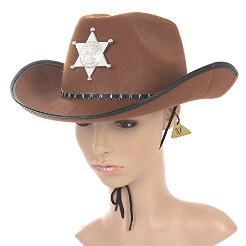 Carl Costumes (IDS Home Halloween Brown Sheriff Cowboy Hat Felt with Star Badge Cosplay Costumes Party Cap)
