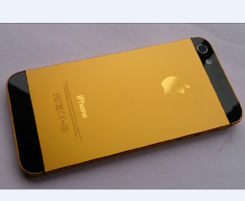 Full Set Of Black Gold Metal Back Cover Housing Case Replacement For Apple IPhone 5 Only