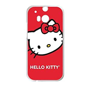 HTC One M8 Cell Phone Case White Hello Kitty Cropped Face Red Gsukl