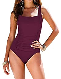 3c076d77c77bc Women's Black One Piece Bathing Suit Ruched Tummy Control Swimsuit