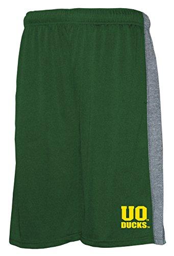 Old Varsity Brand NCAA Oregon Ducks Men's Poly Shorts with Side Panel, Green/Grey, Medium (Oregon Mens Shorts)