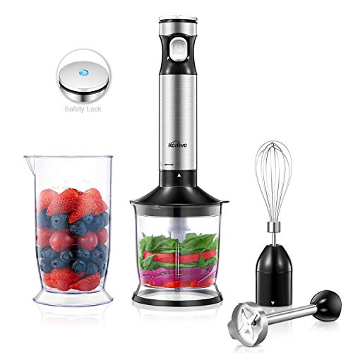 Kealive Hand Blender 300 Watt 12-Speed, Hand Immersion Blender 4-in-1 with Food Chopper