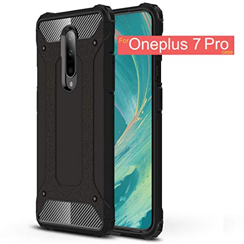 Oneplus 7 Pro Case,Osophter Dual Layer Cases Hard PC Hybrid Anti-Scratch Full Protective Cell Phone Cover for One Plus 7 Pro(Black)