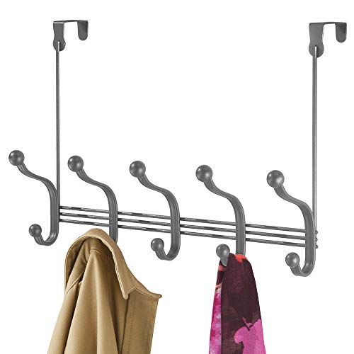 mDesign Decorative Over Door 10 Hook Metal Storage Organizer Rack for Coats, Hoodies, Hats, Scarves, Purses, Leashes, Bath Towels, Robes, Men and Womens Clothing - Graphite Gray