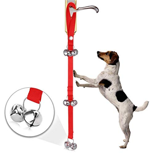 2018 Dog Doorbells for Dog Training and Housebreaking Clicker Door Bell (RED)