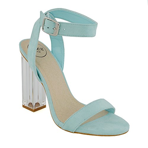 e62a1314ac8 ESSEX GLAM Womens Ankle Strap Clear Heel Pastel Blue Faux Suede Party  Sandals 9 B(
