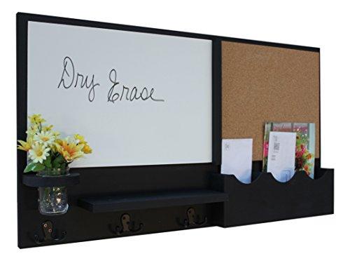 - Legacy Studio Decor Message Center with White Board Cork Board Mail Organizer Key Hooks Coat Hooks Mason Jar (Smooth, Black)