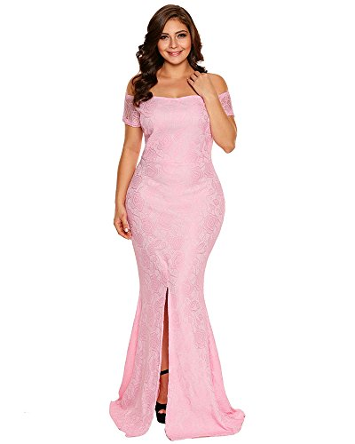 98e0d7e82e7 Home Popular Dresses FUSENFENG Womens Plus Size Evening Gowns Lace Off  Shoulder Wedding Party Long Maxi Dress.   