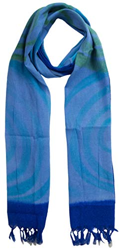 (KNIT SILK Women's Pure Silk Abstract Print Scarf (Blue, 36 inches x 36 inches, Pack of 1))