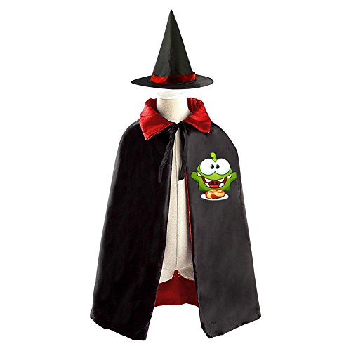 My Om Nom Eat Food Kids Halloween Party Costume Cloak Wizard Witch Cape With (Cut The Rope Om Nom Costume)