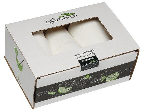 0.35 litres 6 pi/èces Mojito Design Box Verres /à Cocktail Plastique Blanc