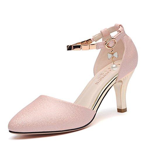 Kengät Vaaleanpunainen Jalka Tikari Otsikossa 9inch Seksikäs 8cm Sandaalit Pituus 22 Korkokenkiä Eudnlmeim Muoti Painike Ja Z1F8q