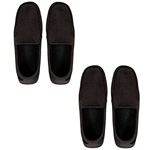 Dearfoams Corduroy Moccasin Slipper 2 Pair Pack