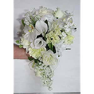 Ivory White Rose Orchid Lily Cascading Bridal Wedding Bouquet & Boutonniere 67