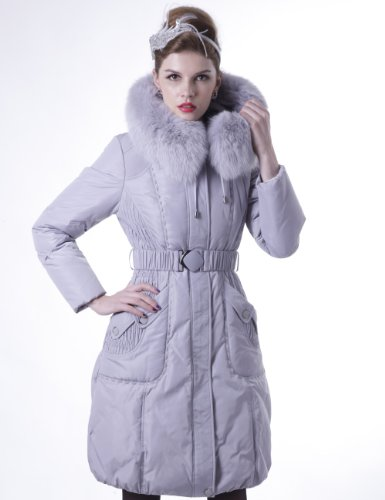 Maxchic Women's Blue Fox Fur Trim Hooded Belted Thicken Down Coat D61002S11M,Grey,XX-Large