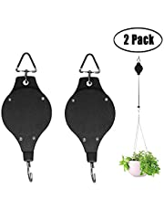 Aniann Plant Pulley Retractable Heavy Duty Easy Reach Pulley Plant Hanging Flower Basket Hook Hanger for Garden Baskets Pots and Birds Feeder Hang High Up and Pull Down To Water or Feed Pack of 2 (Black)