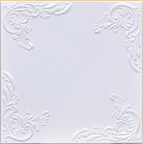 50pc of Marseille White 20 x20 Foam Ceiling Tiles – Covers About 135sqft