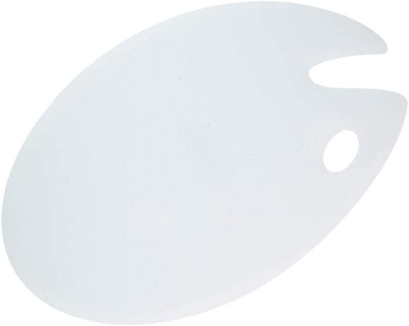Supvox Clear Acrylic Paint Palette Oval Shaped Artist Paint Mixing Palette with Thumb Hole for Acrylic Watercolor Oil Paint