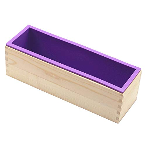 Flexible Rectangular Soap Silicone Loaf Mold Wood Box 42oz
