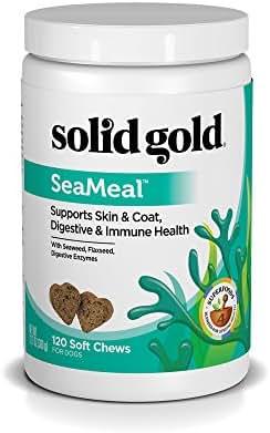 Solid Gold Skin & Coat, Digestive & Immune Health Dog & Cat Supplement; SeaMeal, Natural, Holistic Grain-Free Kelp-Based Chews and Powder Supplement