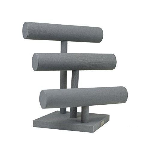 "Hives and Honey 13"" 3 Tier Bracelet Bar Jewelry Display Stand, Grey Linen"