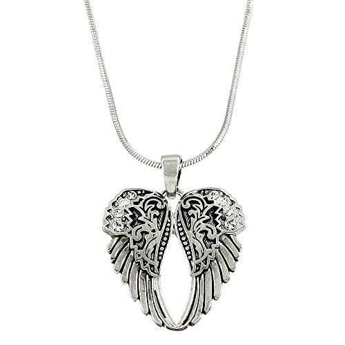 Angel Wing Pendant Necklac Rhinestone Crystal High Polished Rhodium - Pearls Silver Tiffany