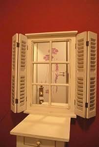 Spejo con Persianas plegables Shabby Chic Rústico antiguo blanco Espejo de pared