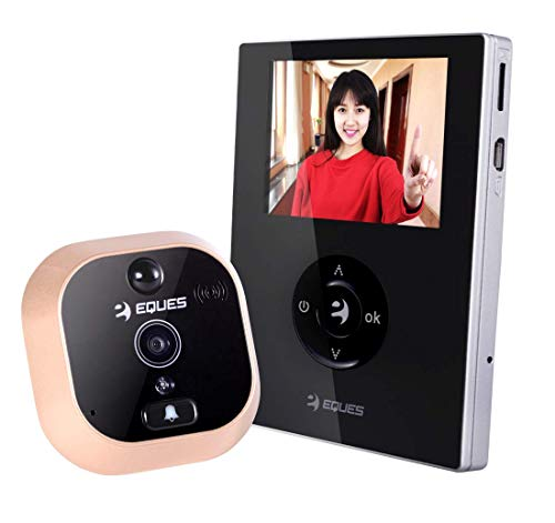 Eques #1 Selling - VEIU Mini Smart Video Doorbell & Door Viewer - Rechargeable and Easy Installation - Award Winning Digital Peephole WiFi Security Camera (Night Vision) - iOS & Android