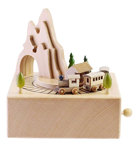 (Wooden Musical Box Featuring Mountain Tunnel with Small Moving Magnetic Train | Plays