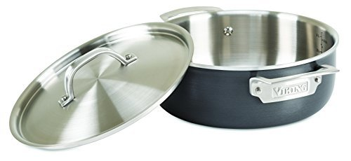 Viking Hard Stainless 5-Ply Cookware with Hard Anodized Exterior and Stainless Interior, 4 Qt. Everyday Casserole Pan by Viking by Viking