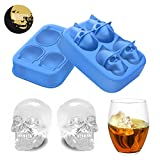 Ice Cube Tray - Halloween Skull Silicone Ice Tray Freezes Cool your Drink Fast Food Grade Safe for Chilling Bourbon Whiskey, Cocktail, Beverages for Party
