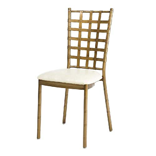 - Towero Antique Industrial Paint Flat Iron mesh Back Dining Chair PU Leather seat Bag Hardware Wedding Bamboo Chair (Color : Gold)
