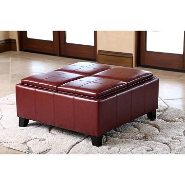 Henry Leather Ottoman With 4 Serving Trays