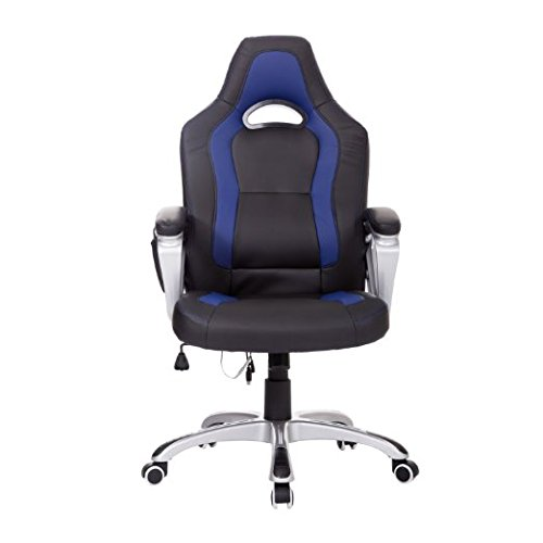 HomCom Race Car Style PU Leather Heated Massaging Office Chair - Blue by HOMCOM (Image #2)