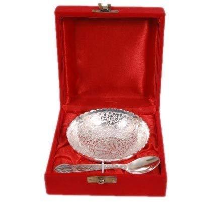 - JAIN ART VILLA Handmade Handi single Bowl With Spoon Silver,Decorative Gift Item Home/Table/Wall Decor Showpiece/Figurine