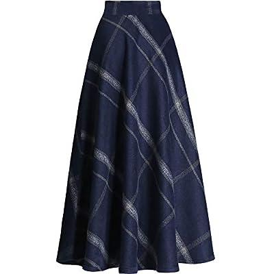 Little Walnut Women Plaid High Wasit Woolen Winter High Waist Skirts
