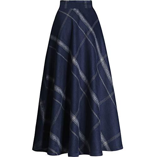 Women Plaid High Wasit Woolen Winter High Waist Skirts Blue