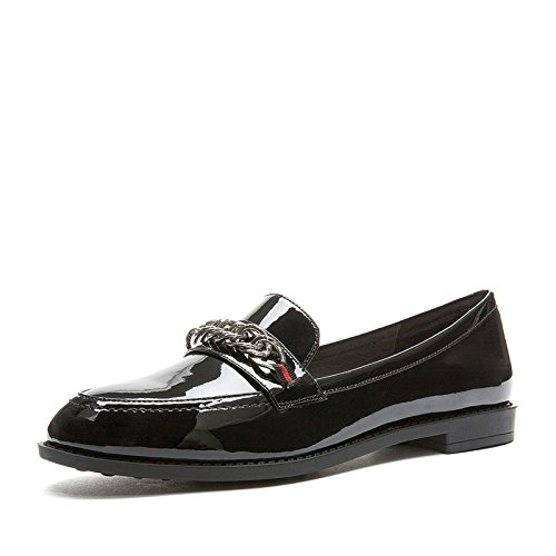 Zapatos Señora Front Deep Dhg negro Cute Cabeza Beauty Planos White Ribbon De Redonda Primavera 34 Sweet TqwwdSX