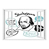 SCOCICI Creative Window View Home Decor/Wall Décor-Funny,Shakespeare Portrait with Speech Bubbles and Social Media Citation Illustration,Blue Black White/Wall Sticker Mural