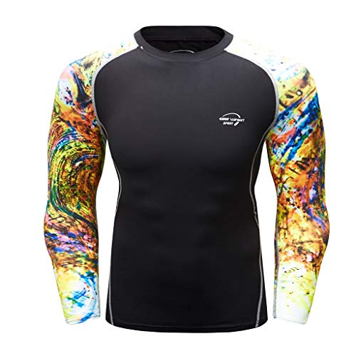 Men's T-Shirts Long-Sleeved Cool Dry Compression Print Tops Gym Muscle Athletic T-Shirts Yellow