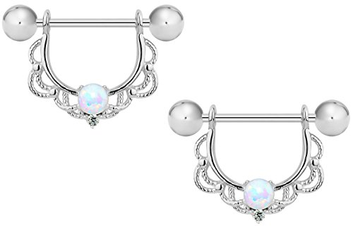 16g Surgical Steel Synthetic Opal Partial Nipple Shield Filigree Barbell Set (Steel Surgical Nipple)