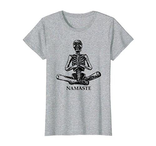 Womens Halloween Yoga Lotus Position Namaste Skeleton Gift T Shirt XL Heather Grey